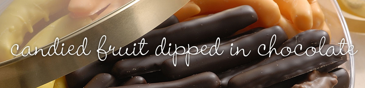Candied fruit dipped in chocolate
