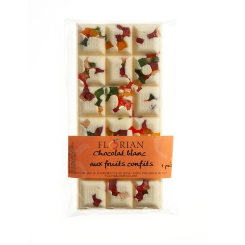 Bar of candied-fruit white chocolate