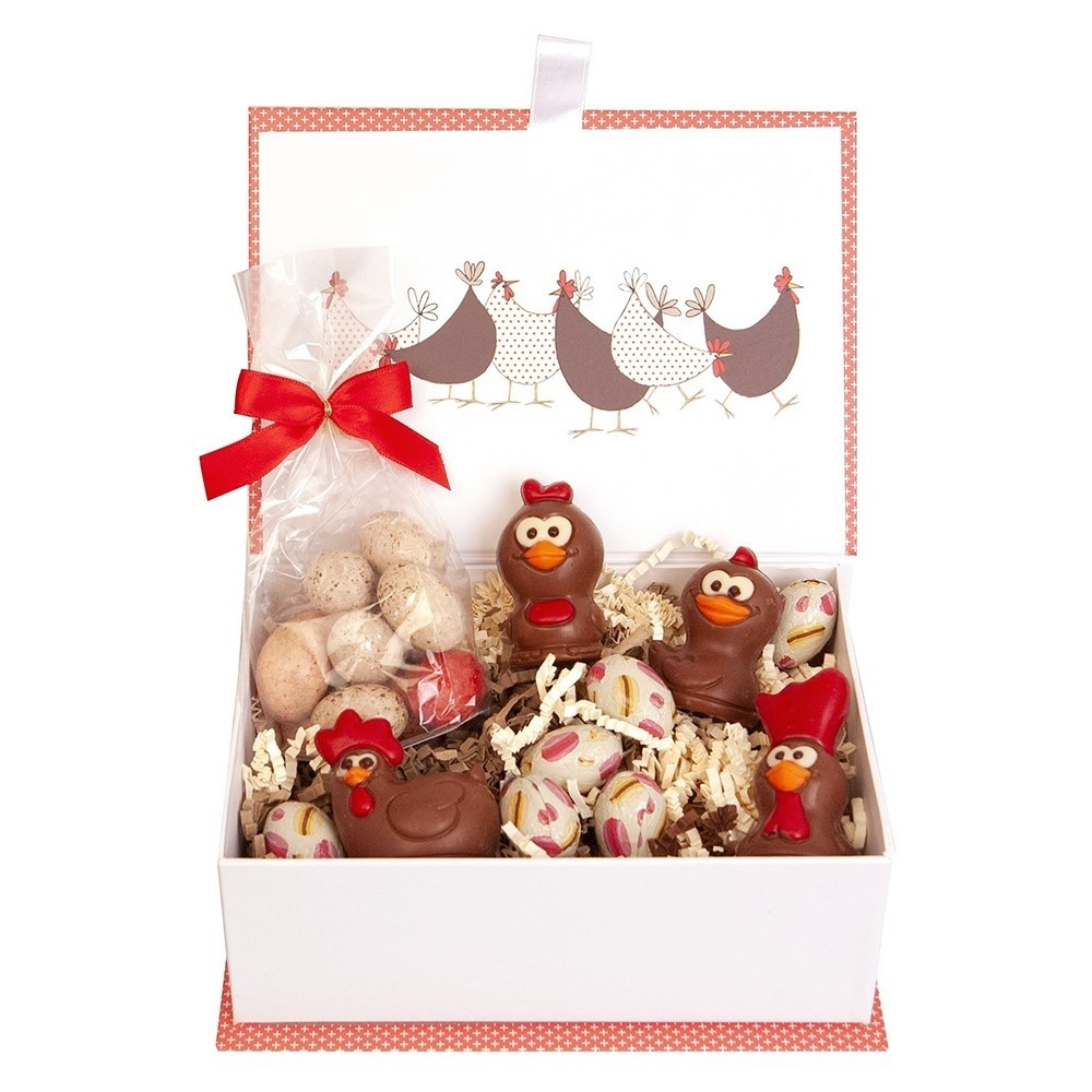 "Easter chocolate giftbox ""Four little hens"""