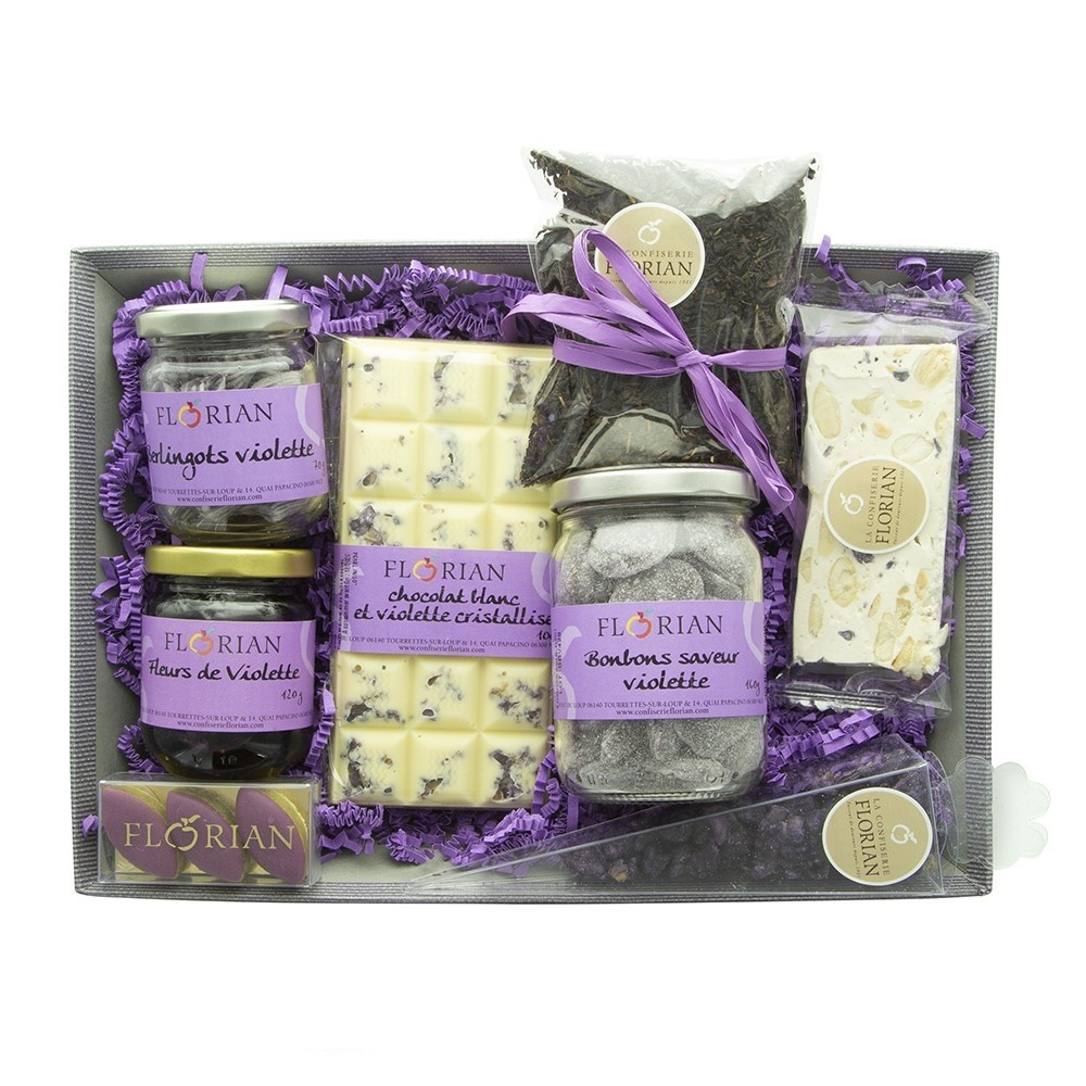 """All about violets"" gourmet basket by Confiserie Florian"