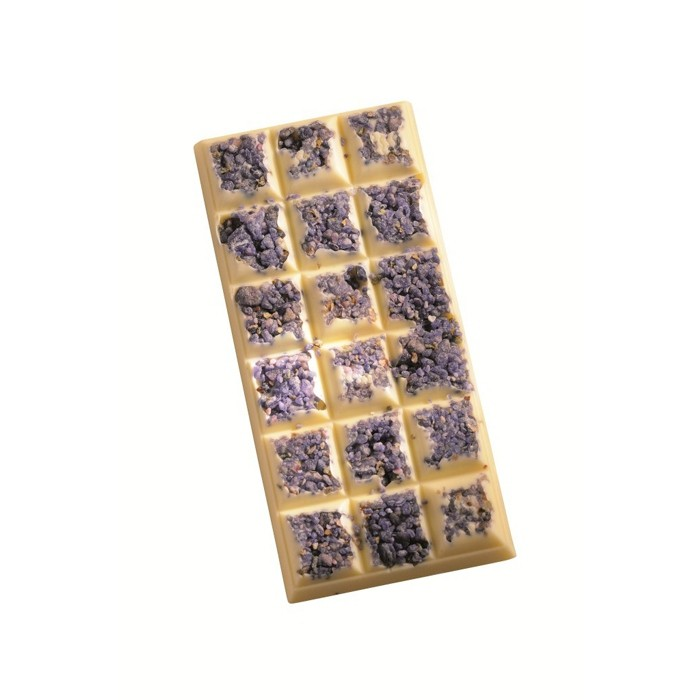 Bar of violet-flavoured white chocolate