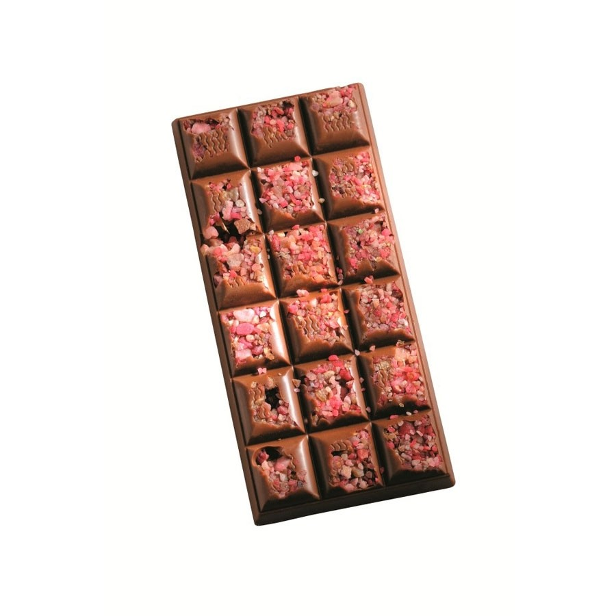 Milk chocolate bar with crystallized rose petals