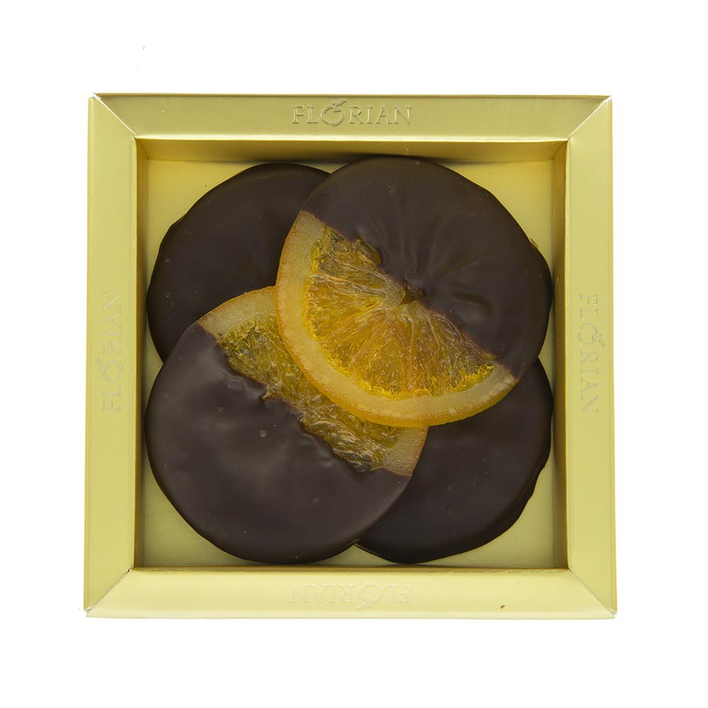 Chocolate coated slices of candied orange - Box of 4 slices
